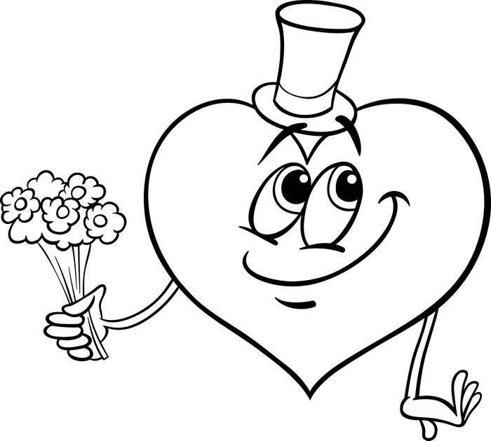 Fototapete Valentine Herz mit Blumen Malvorlagen • Pixers® - Wir ...