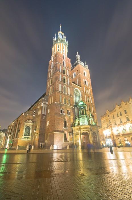 Vinylová Tapeta Polsko, Krakov. Market Square v noci. - Témata