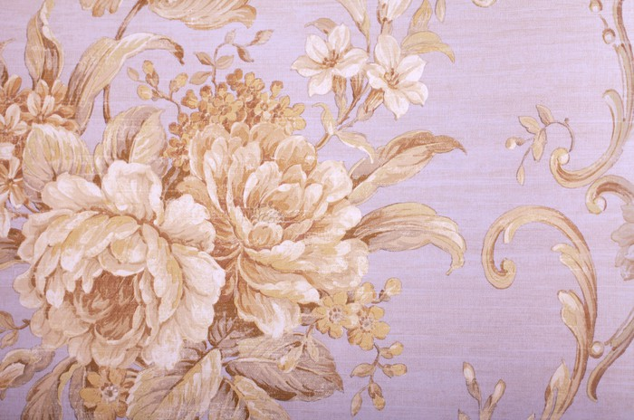 Vintage Wallpaper With Floral Pattern Vinyl Wall Mural