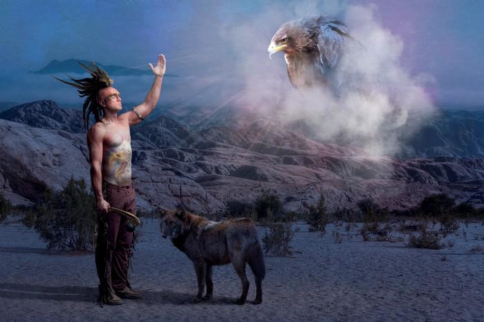 Canvastavla American Indian legend med varg och örn - Övriga känslor