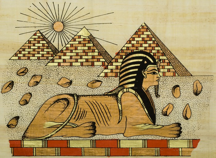 egyptian papyrus with scene of the sphinx Wall Mural Pixers We