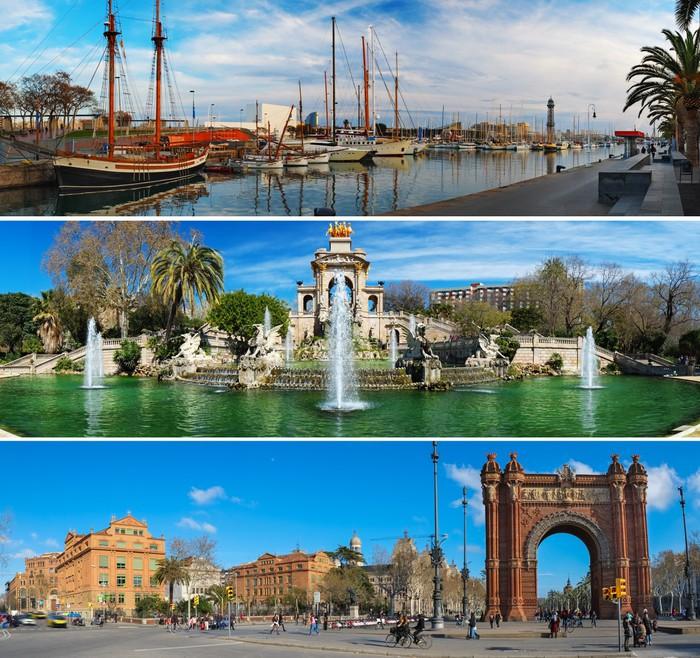 Vinylová Tapeta Sada tří barcelonských zajímavostech panoramat - Evropská města