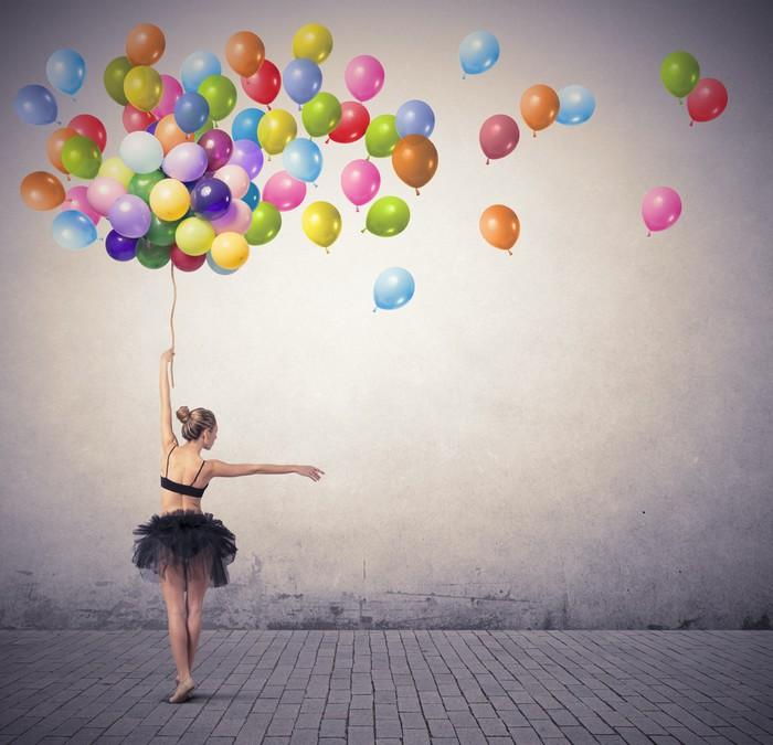 tableau sur toile danseur avec des ballons pixers. Black Bedroom Furniture Sets. Home Design Ideas
