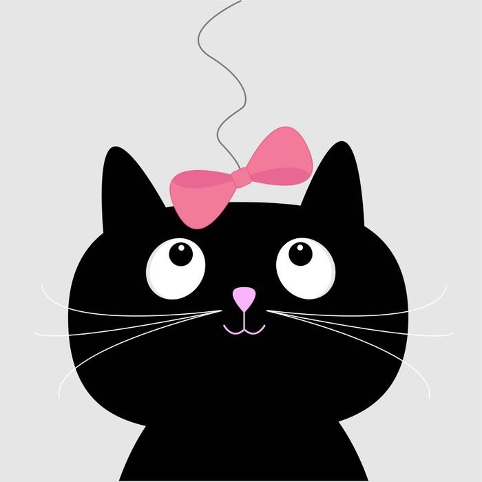 Vinilo Pixerstick Cute dibujos animados del gato negro. Tarjeta ...