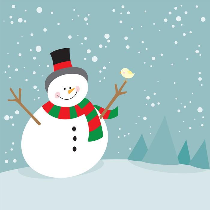 Fototapete Nette Weihnachtsschneemann und kleiner Vogel • Pixers ...