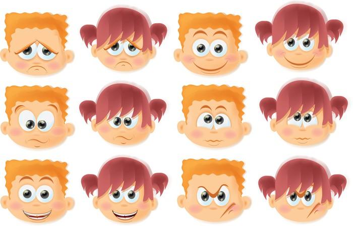 Fotomural Niños Divertidos Dibujos Animados Con Emociones