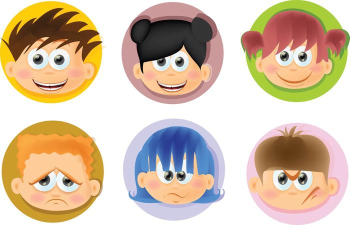 Para Niños De Dibujos Animados Caras Diferentes: Vinilo Pixerstick Niños Divertidos Dibujos Animados Con