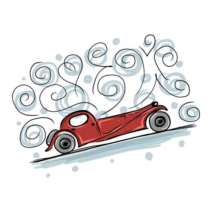 Fototapete Retro altes Auto Skizze für Ihr Design • Pixers® - Wir ...