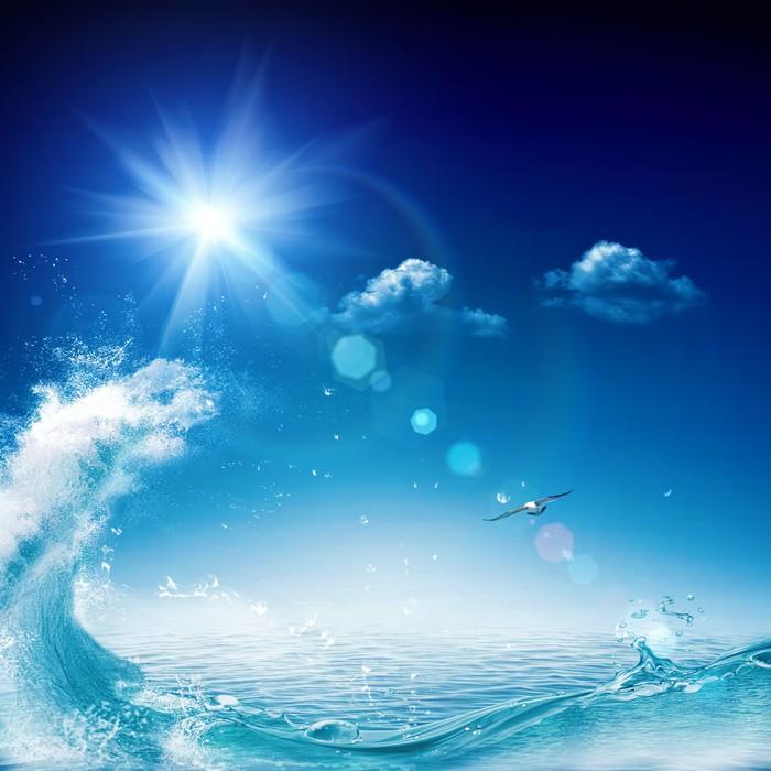 Vinilo Pixerstick En el océano, los fondos ambientales abstractos ...