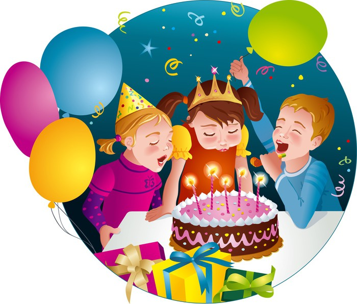 Childs Birthday Party Kids Blowing Candles On Cake Poster