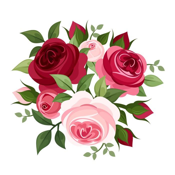 Papier Peint Roses Rouges Et Roses. Vector Illustration