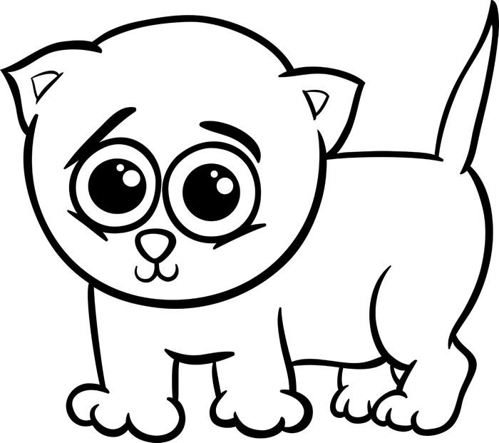 Vinilo Pixerstick Gatito del bebé para colorear de dibujos animados ...