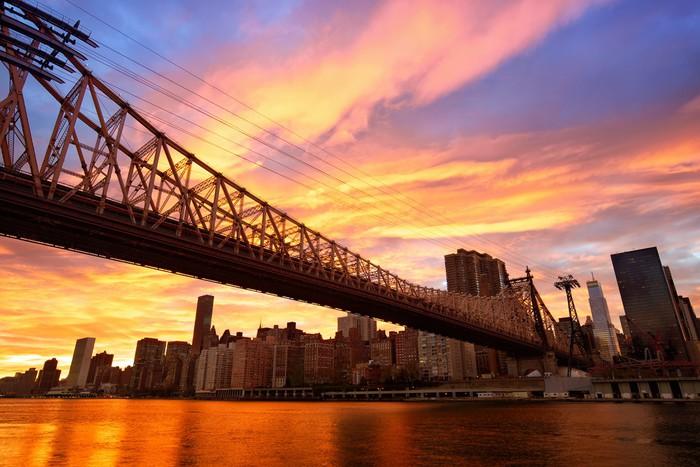 Vinylová Tapeta Manhattan skyline a Queensboro most při západu slunce, New York - Témata