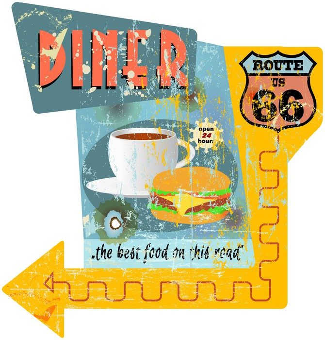 Retro route 66 diner sign, vector illustration Wall Mural • Pixers ...