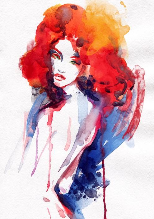Vinylová Tapeta Krásná žena. akvarel ilustrace - Témata