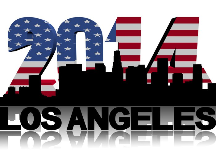 Vinylová Tapeta Los Angeles panorama s 2014 Americká vlajka textu obrázku -