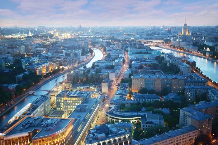 Vinylová Tapeta Moskva River, malý kanál a budovy - Město