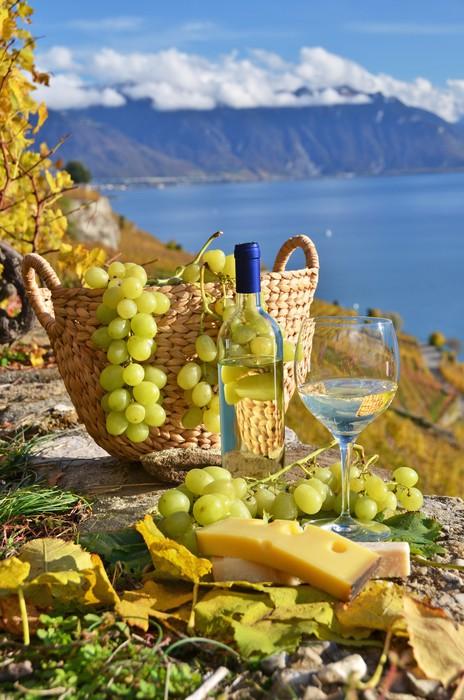 Vinylová Tapeta Bílé víno a koše hroznů. Lavaux regionu, Švýcarsko - Alkohol