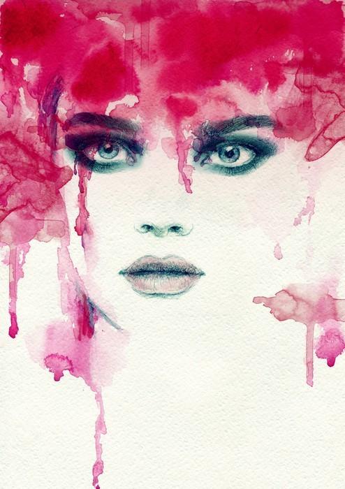 Smuk kvinde. akvarel illustration Garderobe klistermærke - Mennesker