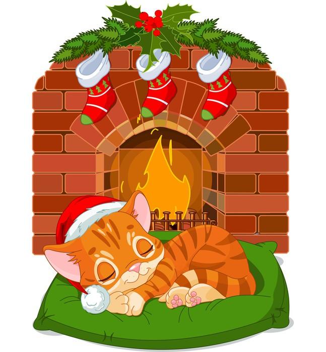 Vinylová Tapeta Vánoční Kitten Sleeping u krbu - Mezinárodní svátky