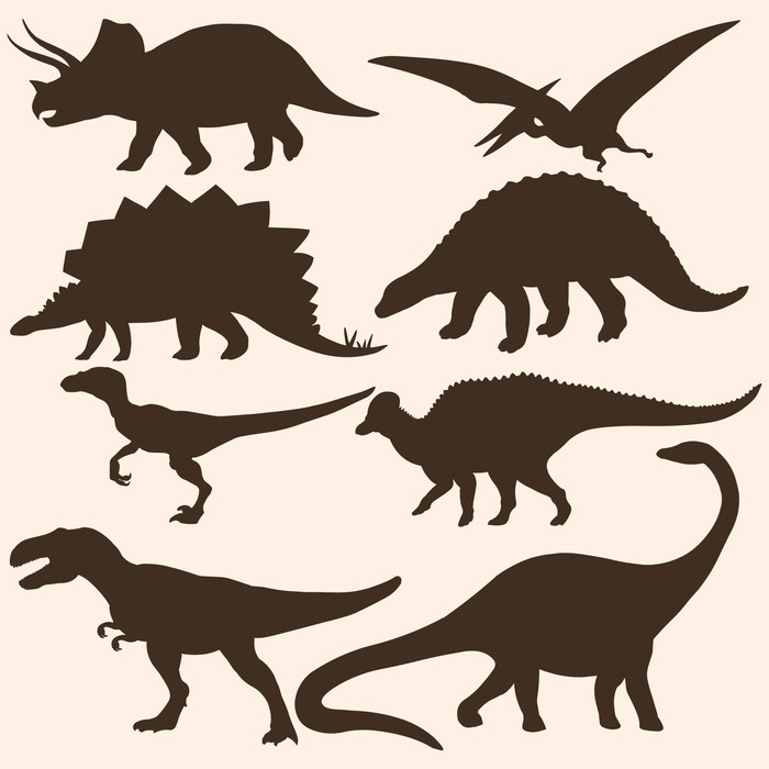 Fotomural Vector conjunto de 8 siluetas de dinosaurios • Pixers ...