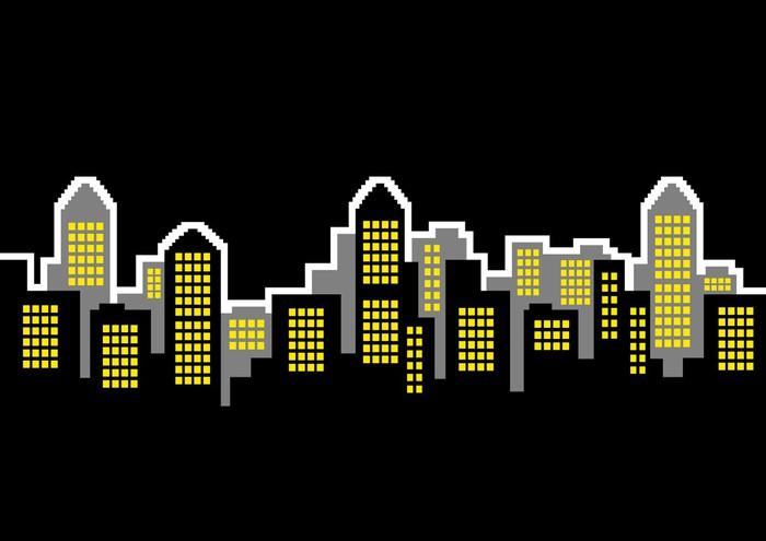 Vinylová Tapeta Noční město - Soukromé budovy