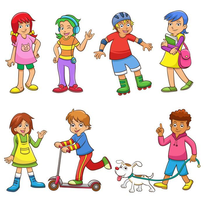 Nálepka Pixerstick Sada šťastné kreslených děti - Děti