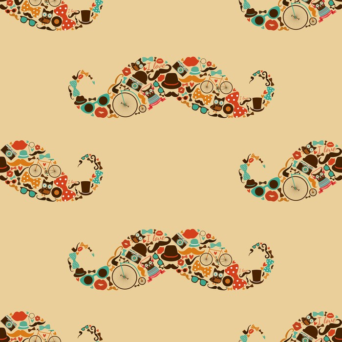 Hipster Mustache Colorful Seamless Pattern Wall Mural • Pixers® • We ...