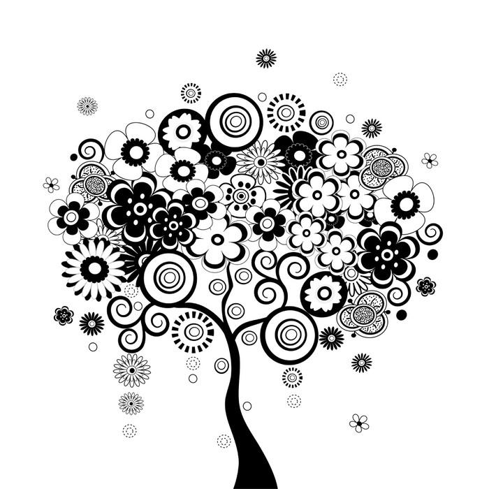 Sticker arbre noire et blanc pixers nous vivons pour changer - Dessin arbre chinois ...