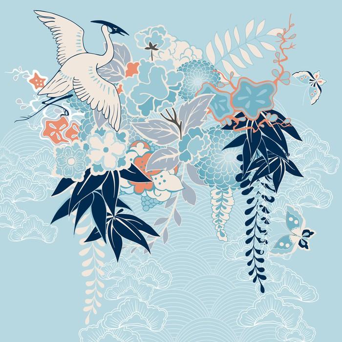 papier peint motif de kimono japonais avec des grues et des fleurs pixers nous vivons pour. Black Bedroom Furniture Sets. Home Design Ideas