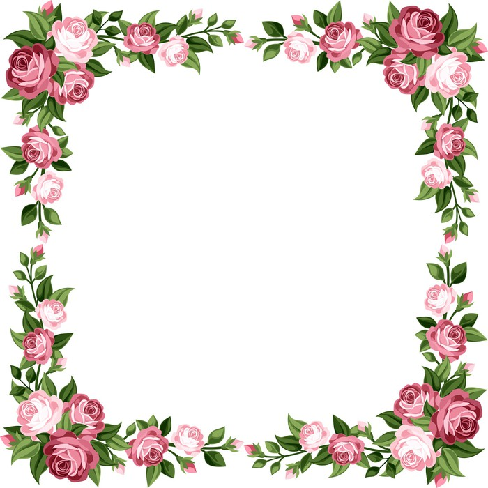 Vinilo Pixerstick Marco de la vendimia con las rosas rosadas ...