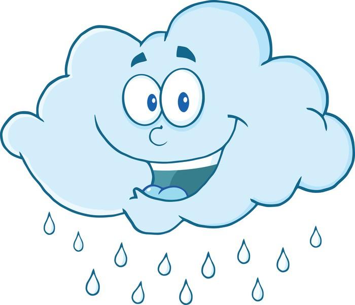 Happy Cloud Raining Cartoon Mascot Character Sticker