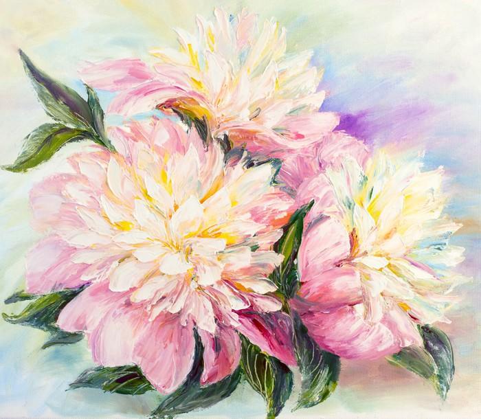 Quadro su tela peonie olio su tela pixers viviamo for Quadri fiori olio