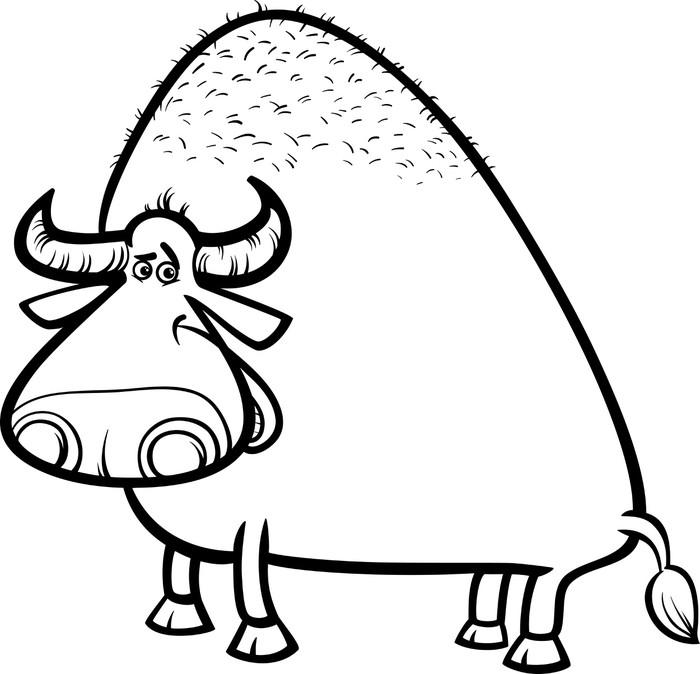 fotobehang stier of buffel kleurplaat pixers
