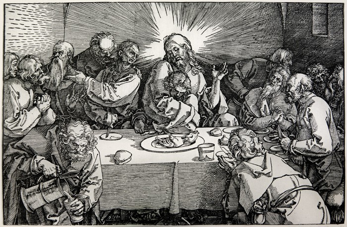 Lithography of Last supper of Christ by Albert Durer Wall Mural