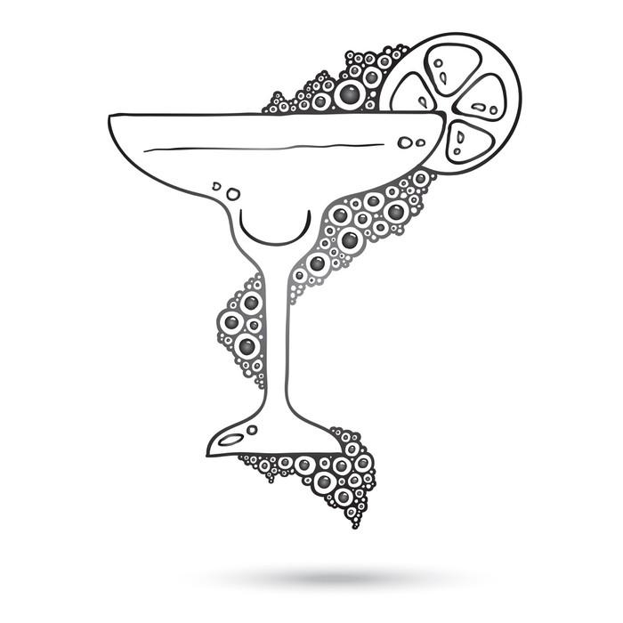 Nálepka Pixerstick Wine Glass On The Doodle kruhovém vzoru izolované - Pozadí