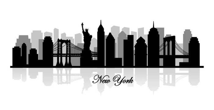 vector new york skyline silhouette wall decal pixers we live to