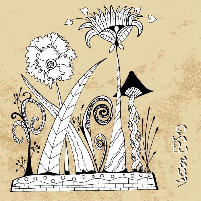 Vinylová Tapeta Alien futuristické abstraktní květiny v zentangle stylu, vektoru - Květiny
