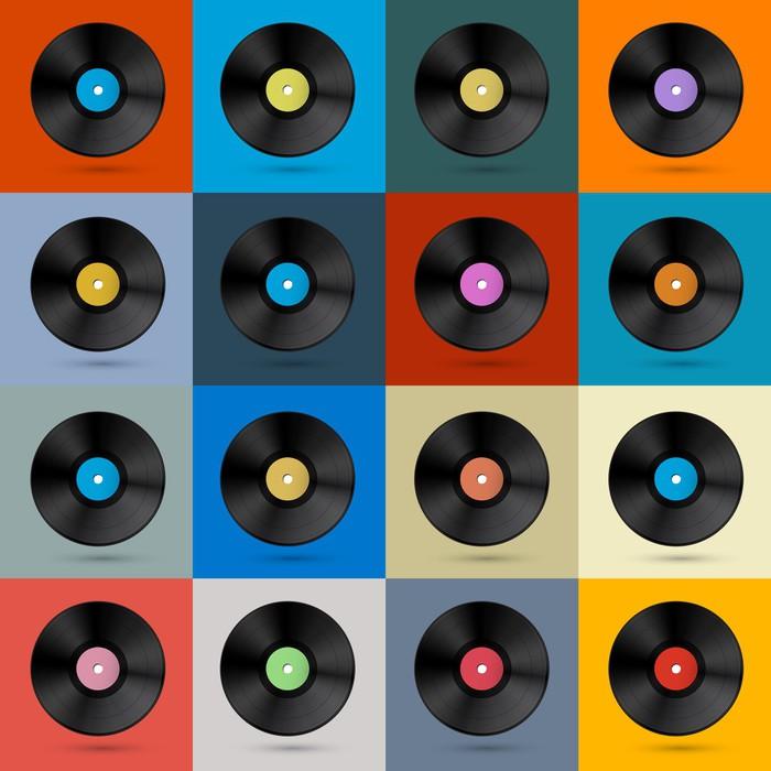 Fototapete Retro, Vintage-Vektor-Vinyl Record Disc Hintergrund ...