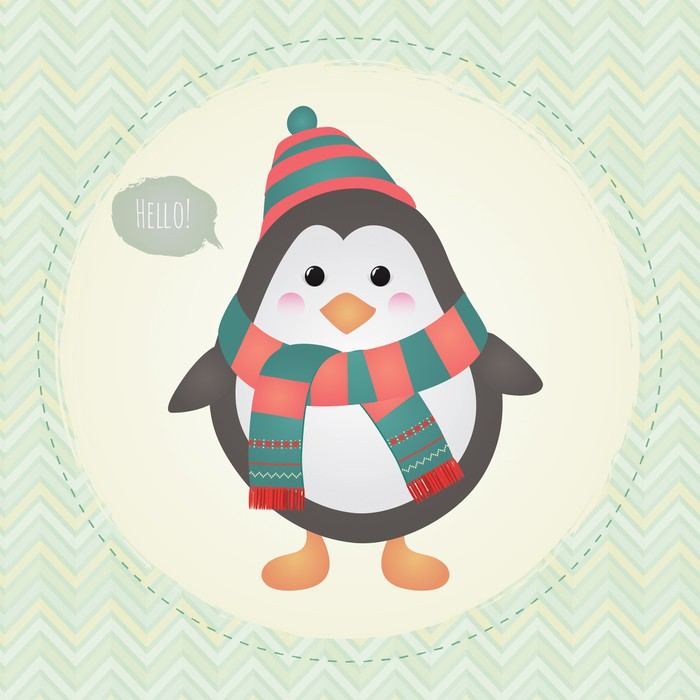 Vinilo Pixerstick Pingüino lindo en textura marco de diseño de ...