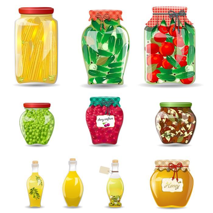 Vinilo Pixerstick Conjunto de frascos de vidrio con conservas ...