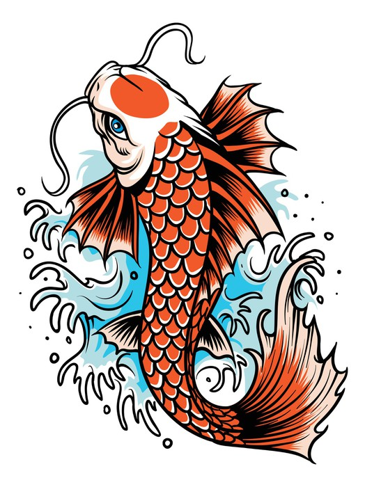 Koi fish tattoo wall mural pixers we live to change for Imagenes de peces chinos