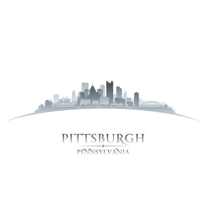 Vinylová Tapeta Pittsburgh Pennsylvania panorama města silueta bílém pozadí - Amerika