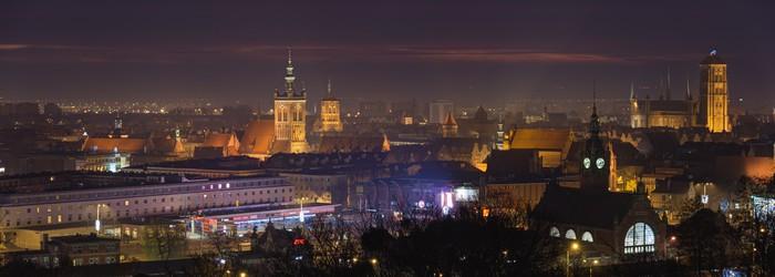 Vinylová Tapeta Staré město Gdaňsk s historické budově-východ slunce - Témata