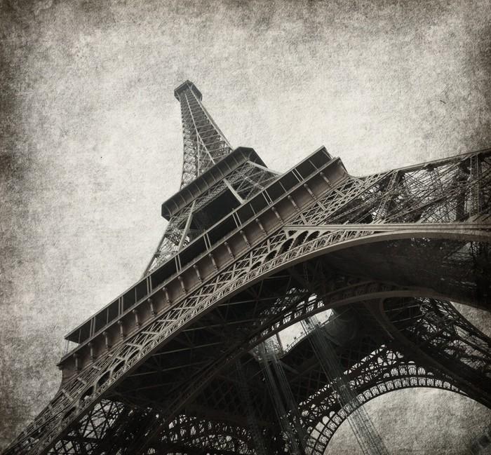 Vinylová Tapeta Eiffelova věž. Foto ve stylu grunge. textura papíru. - Témata