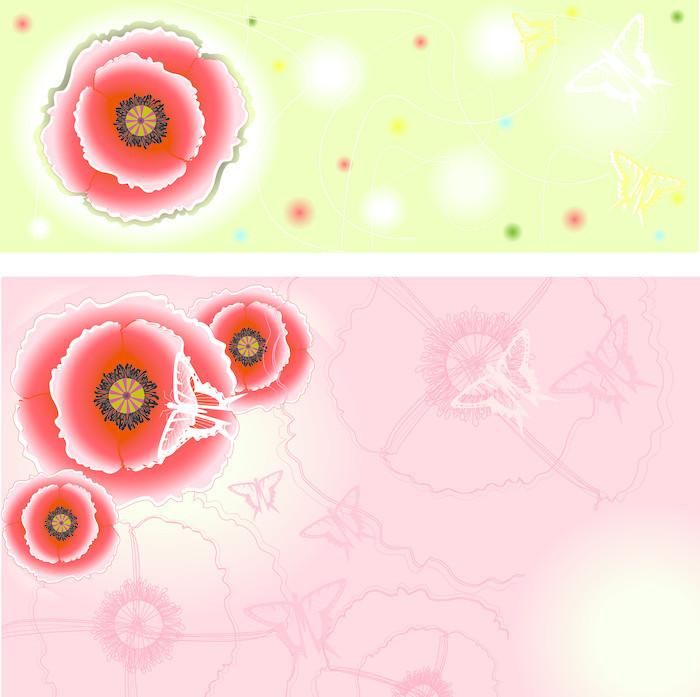 Vinylová Tapeta Růžové a světle zelené pozadí s máky a - Květiny