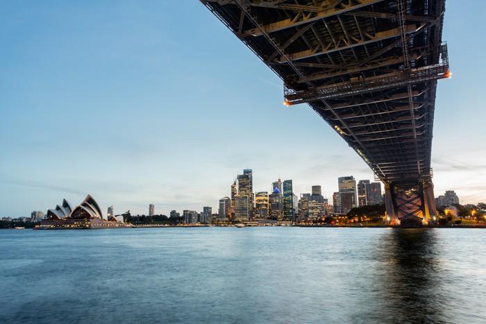 Vinylová Tapeta Dramatické panoramatické fotografie západ slunce Sydney přístav - Oceánie