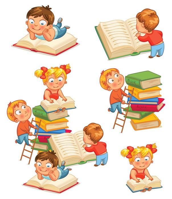 Carta da parati i bambini la lettura di libri in for Carta da parati libri
