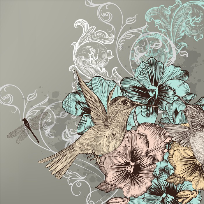 Carta da parati elegante sfondo floreale con fiori e for Carta parati elegante