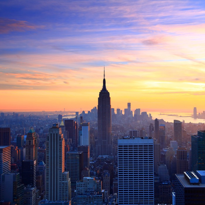 new york city skyline at sunset wall mural pixers we live to change